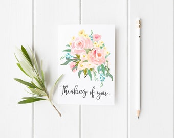 Thinking of You Greeting Card - Watercolor Flowers - Floral Card - Sympathy Card