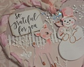 sweet snowman with deer mixed media WINTER HEART vintage shabby PINK handmade hanging home decoration