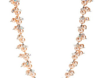 Crisp Spring Peach Pearl Necklace Laced Subtly With Swarovski Crystals