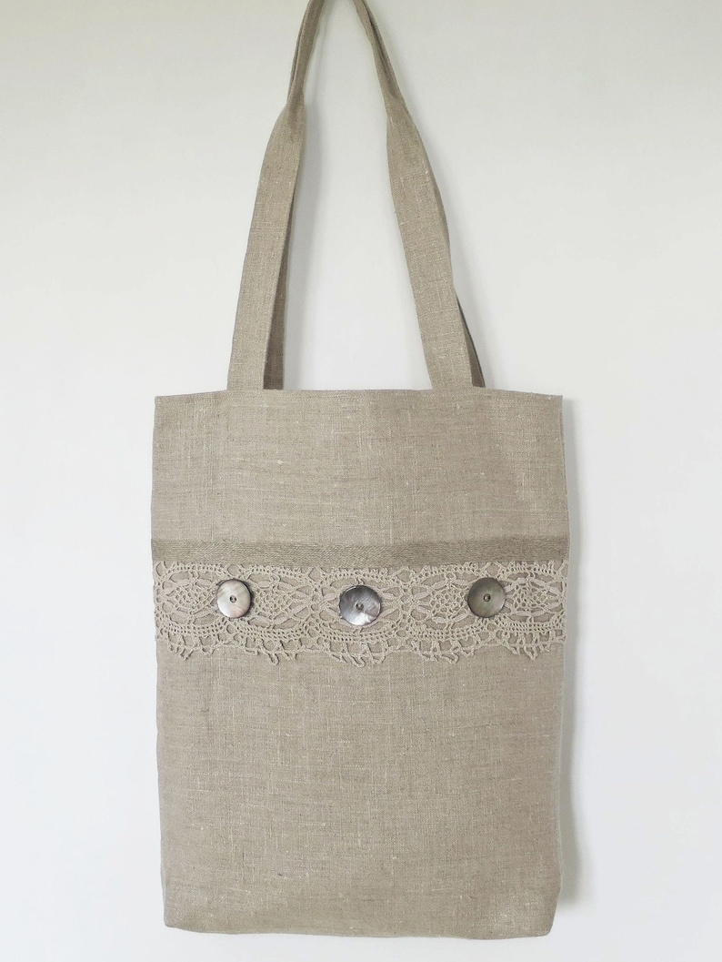 3 Pockets Vintage Crochet Lace Gift For Her Natural Rustic Linen Handbag Antique Pearl Buttons Linen Handles Fully Lined