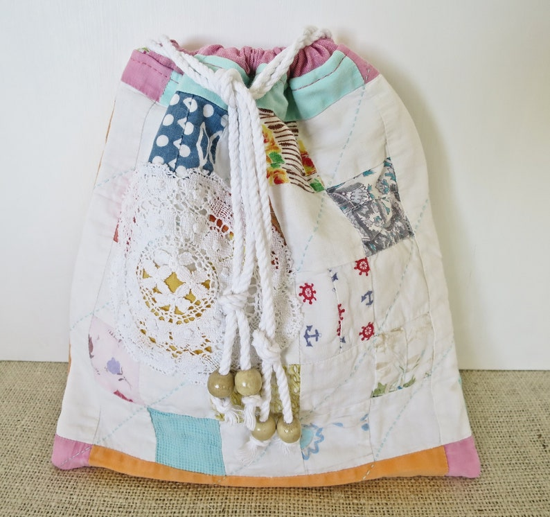 Vintage Patchwork Shabby Chic Upcycled Antique Quilt Travel Bag Makers Bag Lingerie bag Lightly Padded Electronics Pouch