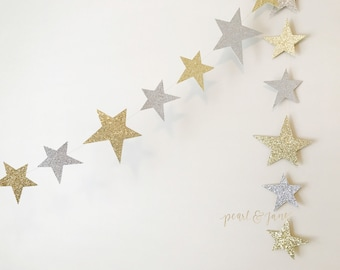 Silver and Gold Glitter Star Garland, Banner, Bunting - Doublesided