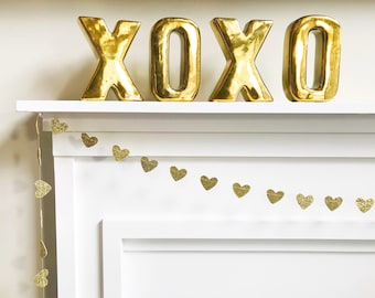 Mini Glitter Heart Garland in Gold and/or Silver - 6 ft across - Banner, Bunting
