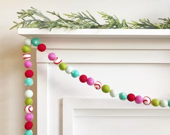 Candyland Christmas Felt Ball Garland, Banner, Bunting with Peppermint Candy Felt Option