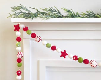 Jolly Peppermint Candy Felt Ball Garland, Banner, Bunting