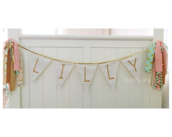 Custom Gold or Silver Glitter Letter Fabric Banner, Bunting, Photo prop, Decoration - up to 10 Letters