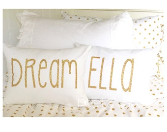 Customizable Throw Pillow Cover -  with Gold or Silver Glitter Letters - DREAM, SPARKLE, LOVE, Xoxo, or Customizable Name/Word