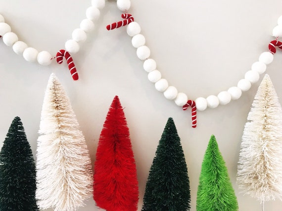 Red Candy Cane Forest Felt Ball Garland Bunting Banner Etsy