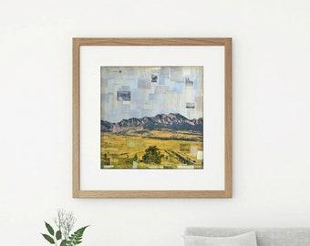 "Mountain Print: Mixed Media Photography, Colorado Print, Flatirons Print Boulder print, 8""x8"" or 12""x12"" print ""I left my heart in Eldorado"""