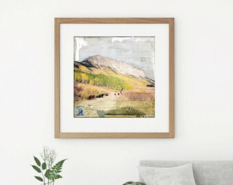"""Mountain Print: Mixed Media Photography, Colorado Print, Colorado Mountain Print, Crested Butte print, 8""""x8"""" or 12""""x12"""" print, """"Dinner Bell"""""""