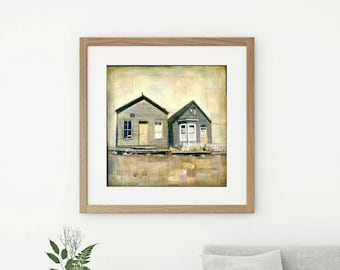 "Architectural Art Print, Mixed Media Print, Historic Building Art, Ghost Town, Old Buildings, CO Art, 8""x8"" or 12""x12"", ""Upon my Return"""