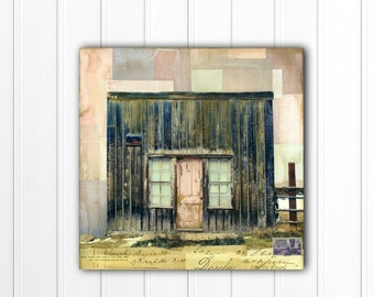 "Western Art: 12x12"" Original Mixed Media Art, Ghost Town, Colorado Art, Contemporary Western Art, Pink Mixed Media Painting ""Mining Days II"""