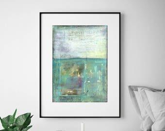 "Abstract Print, Mixed Media Art Print, Abstract Art, Fine Art Print, Contemporary Art Print, 8""x10"" or 11""x14"" aqua turquoise ""Pacific"""