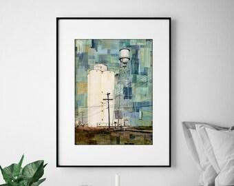 "Agricultural Print, Industrial Art Print, Water Tower Print, Mixed Media Print, Colorado Print, 8""x10"" or 11""x14"", ""Sugar Mill Remains"""