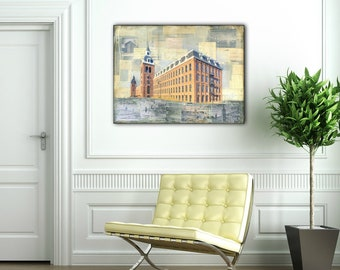 "Industrial Art, 18x24"" Original Mixed Media Painting & Photography, Vintage Mill, Ponemah Mill, Mixed Media Abstract Art ""The Textile Mill"""