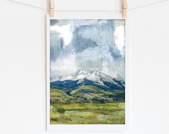 "Mountain Print Wall Art Print Home Decor Wall Decor Mountain Print Mountain Art Colorado Art Landscape 5x7 up to 16x20 ""CB Study"""