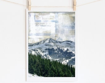 """Mountain Print Pine Trees and Mountains Colorado Art Landscape 5x7 up to 24x36 """"Of Pines & Peaks"""""""
