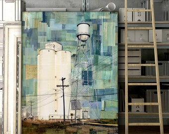 "Western Art, 36"" x 48"", Original Mixed Media Art, Agricultural Art, Industrial Art, Concrete Silos, Water Tower CO Art ""Sugar Mill Remains"""""