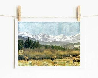 """Mountain Print Elk and Mountains Colorado Art Landscape 5x7 up to 24x36 """"Take me to Estes Park"""""""