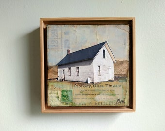 "Mixed Media Art, 6"" x 6"" Original Art in 7x7 Floating Frame, Mixed Media Painting Photography Vermont Art, Original Artwork, ""In Town"""