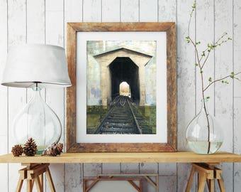 "Print of a Covered Railroad Bridge Vermont Art 8""x10"" or 11""x14"" Mixed Media Art"