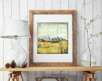 "Colorado Mountain Print: Mixed Media, Colorado Print, Mountain Print, Crested Butte, Autumn, 8""x8"" or 12""x12"" print, ""Autum with the Aspens"""