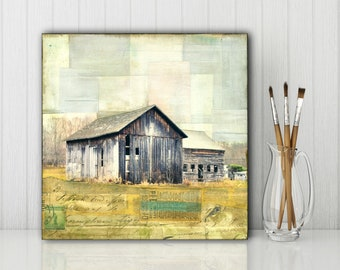 "Barn Art: 8""x8"" Original Mixed Media Art, Farm Art, Agricultural Art, Barn Painting & Photography, Mixed Media Painting, ""Once Upon a Time"""