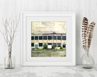"Industrial Art Print, Architectural Art Print, Mixed Media Print, rustic art print, factory print, 8""x8"" or 12""x12"" print, ""Yearning Mill"""