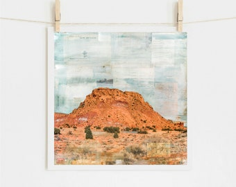"""Southwestern Print: Mixed Media Print Southwest Abiquiu New Mexico, Ghost Ranch Western Art, 8x8 up to 24x24"""" print, """"Red Rock Country II"""""""