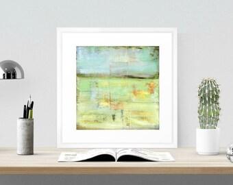 "Abstract Art Print, Mixed Media print, Contemporary Art print, Abstract Art, Industrial Art, mint green blue, 8""x8"" or 12""x12"", ""Pasture"""