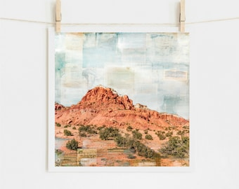 """Southwestern Print: Mixed Media Print Southwest Abiquiu New Mexico, Ghost Ranch Western Art, 8x8 up to 24x24"""" print, """"Red Rock Country"""""""