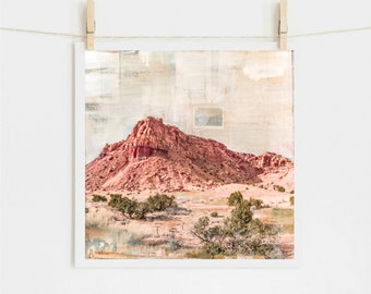 """Southwestern Print: Mixed Media Print Southwest Abiquiu New Mexico, Ghost Ranch Western Art, 8x8 up to 24x24"""" print, """"Rose Gold"""""""
