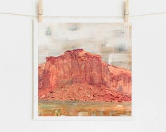 "Southwest Print: Mixed Media Print Southwestern Monument Valley Utah Arizona Western Art, White Horse, 8x8 up to 24x24"" print, ""Wild Horse"""