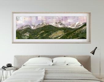 "RMNP Print Mountain Panoramic Print Mountain Art Rocky Mountain National Park Poster 6x18 up to 24x72 ""Lavender Skies"""