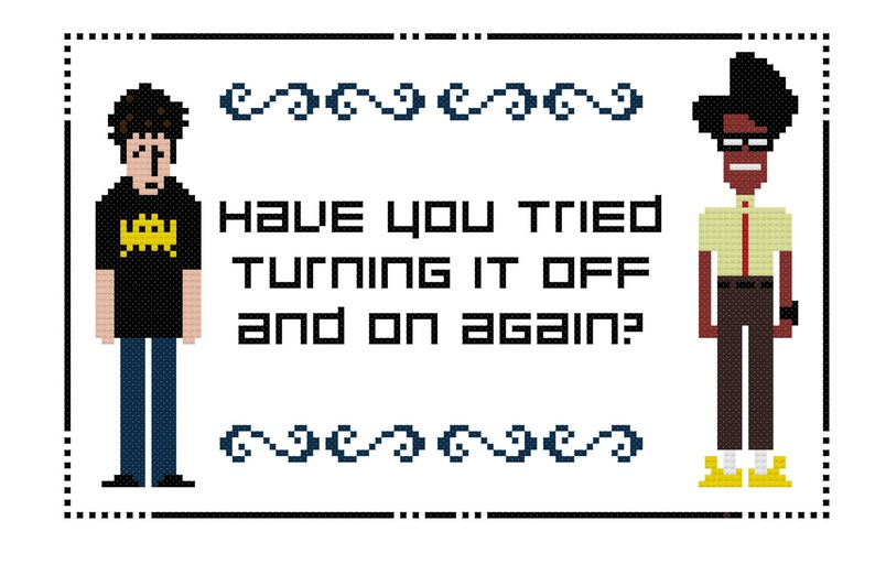 IT Crowd  Roy and Moss  PDF Cross-stitch pattern  Instant image 0