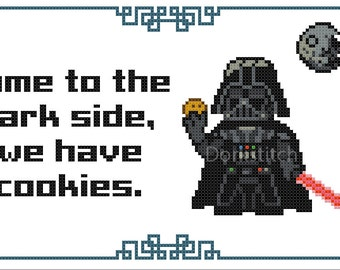 Darth Vader - Come to the Dark Side we have Cookies/Cupcakes/Math (Multiple Pattern Styles!) - PDF Cross-stitch pattern - Instant Download!