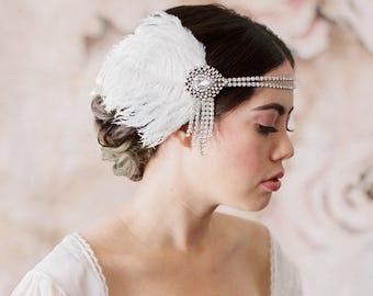 Flapper Headband, Great Gatsby Headpiece, Rhinestone Vintage Headband 1920s Accessories Gatsby Party Roaring 20s Blush Ivory Feather, 2 102
