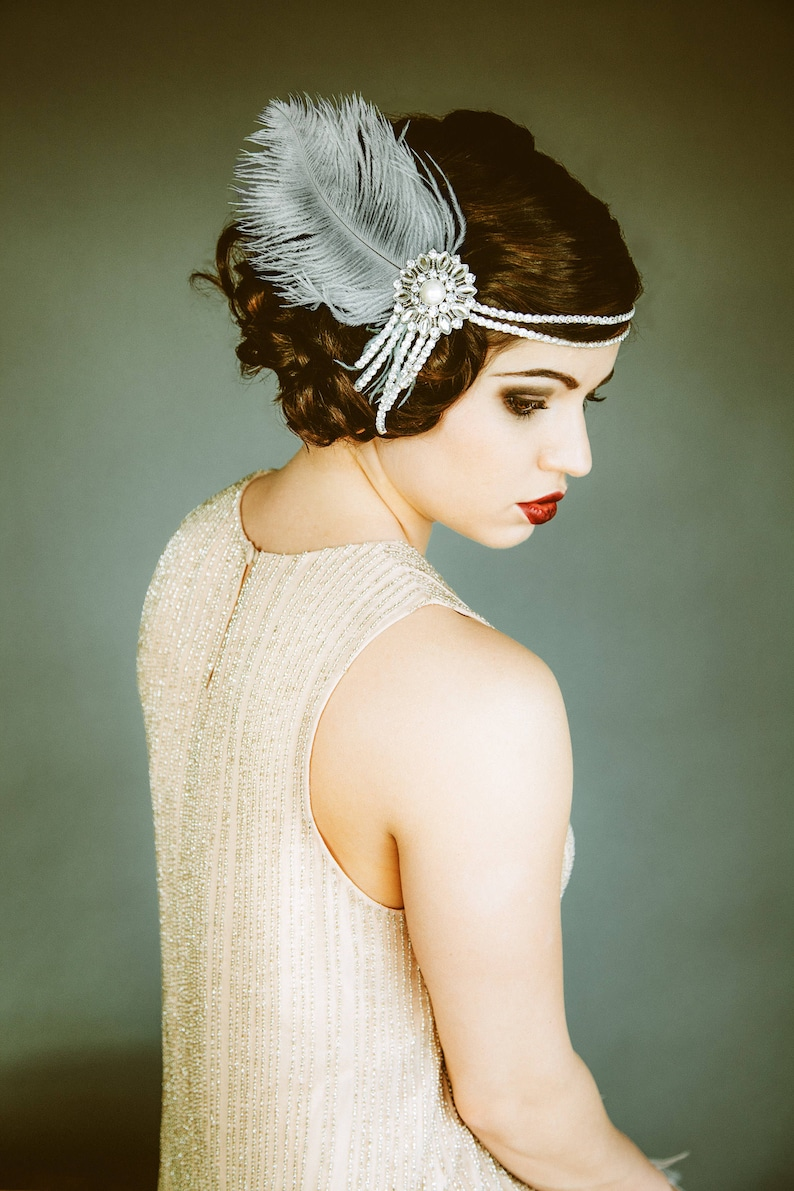 Flapper Headpiece Vintage Inspired Bridal Headband The image 0