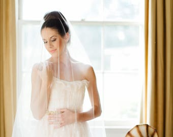 Drop Veil with Blusher simple modern downton abbey princess kate royal romantic illusion crown bohemian whimsical delicate beach wedding 301