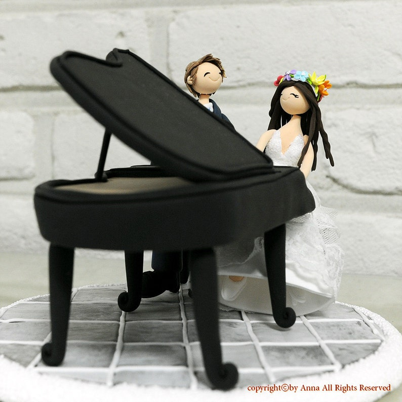 Playing piano couple custom wedding cake topper decoration ...