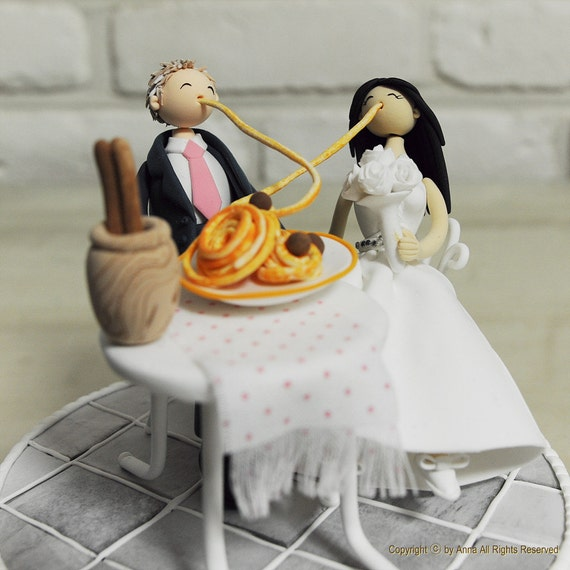 Lady And Tramp Theme Custom Wedding Cake Topper Cute Couple Etsy