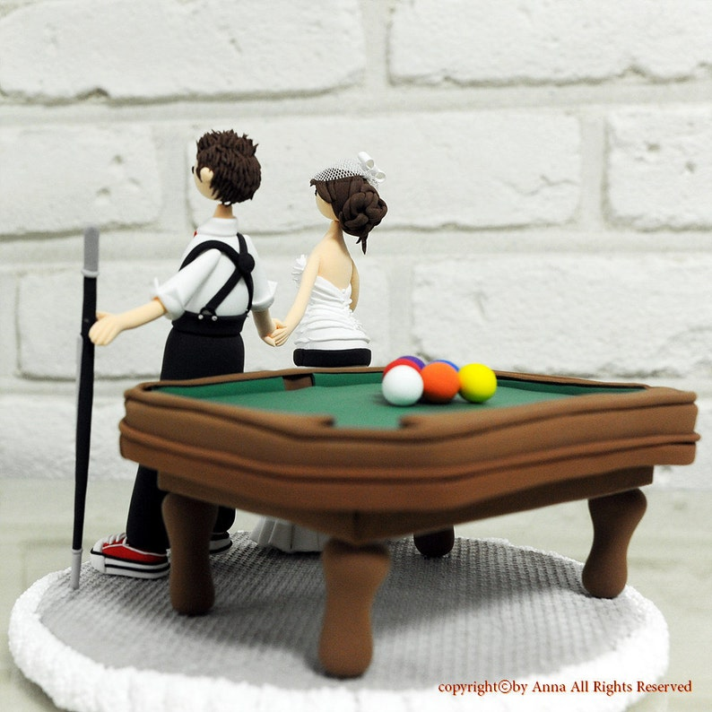 Playing pool billiards custom wedding cake topper decoration image 0