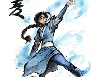 8x10 PRINT Katara from Avatar with calligraphy Righteousness