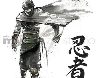 PRINT 8x10 NINJA Japanese Calligraphy