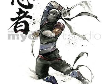 PRINT 8x10 NINJA Japanese Calligraphy by Mycks