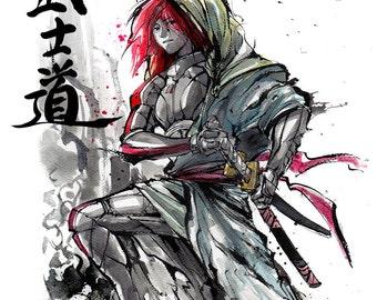 8x10 PRINT Mass Effect Commander Shepard Ronin Samurai with Katana Sword Japanese Calligraphy Bushido
