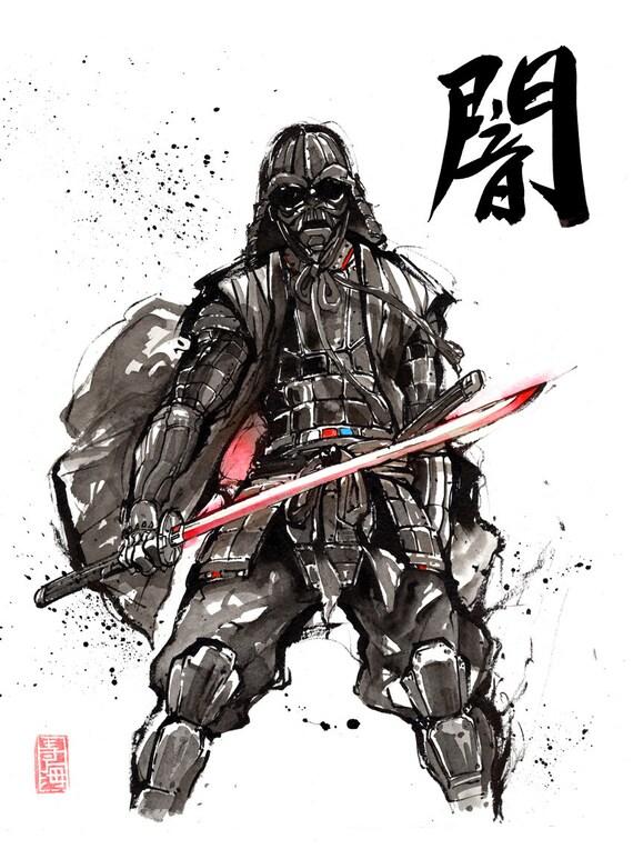 Impression Canvas De Style Samouraï Darth Vader Avec Calligraphie Japonaise Darkness