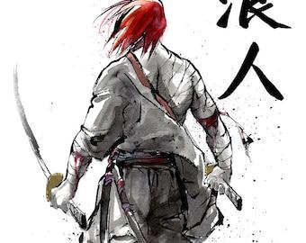Print 8x10 RONIN samurai with Katana swords Japanese Calligraphy