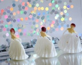 Dollhouse 1 12 Princess Figures, 3 Teeny Tiny 1 inch White Bride or Princess Figurines