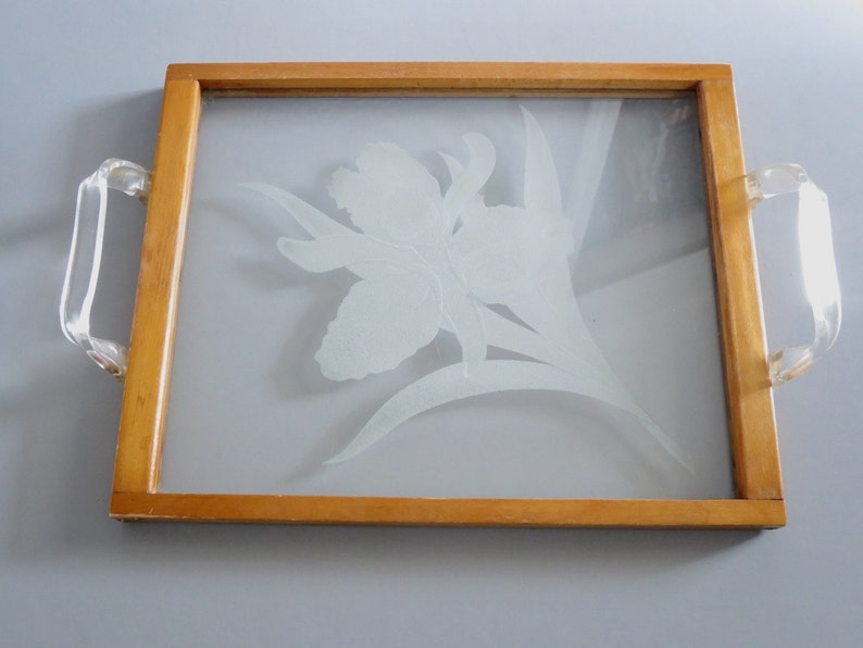 Vintage Etched Glass Decorative Serving Tray Wood & Etched image 0